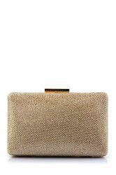 Metal Trimmed Rectangle Evening Bag - GOLDEN