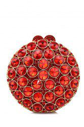 Diamante Round Shaped Evening Bag - RED