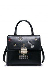 Applique Embroidery Studded Tote Bag