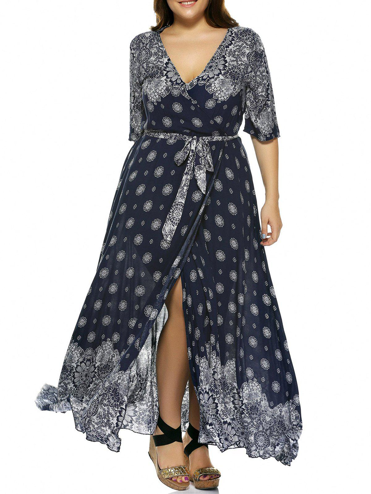 Plus Size Boho Print Flowy Beach Wrap Maxi DressWOMEN<br><br>Size: XL; Color: DEEP BLUE; Style: Bohemian; Material: Polyester; Silhouette: Beach; Dresses Length: Ankle-Length; Neckline: Plunging Neck; Sleeve Length: Short Sleeves; Waist: Empire; Pattern Type: Print; With Belt: Yes; Season: Spring,Summer; Weight: 0.3290kg; Package Contents: 1 x Dress  1 x Belt;