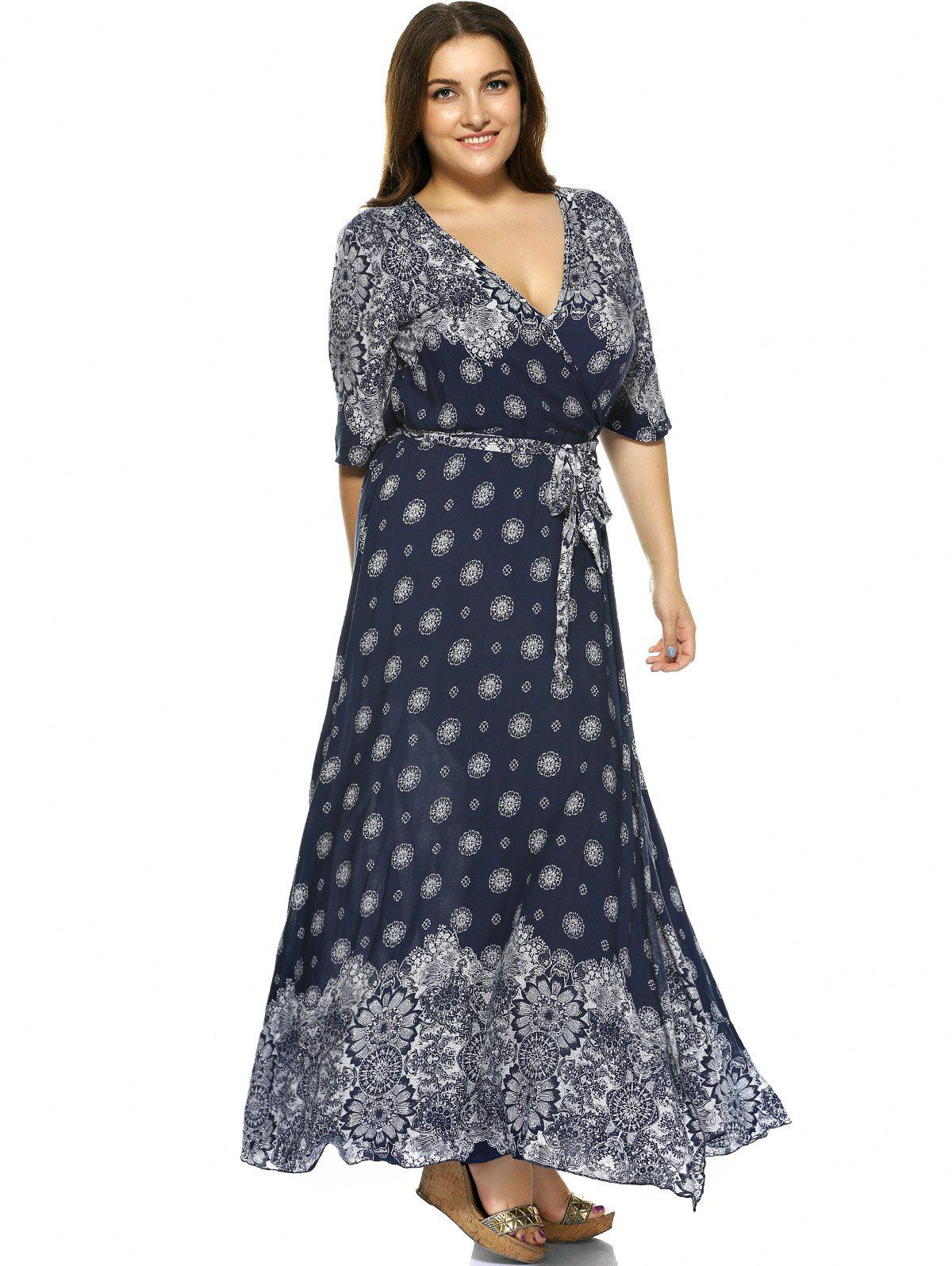Deep Blue 5xl Plus Size Boho Print Flowy Beach Wrap Maxi ...