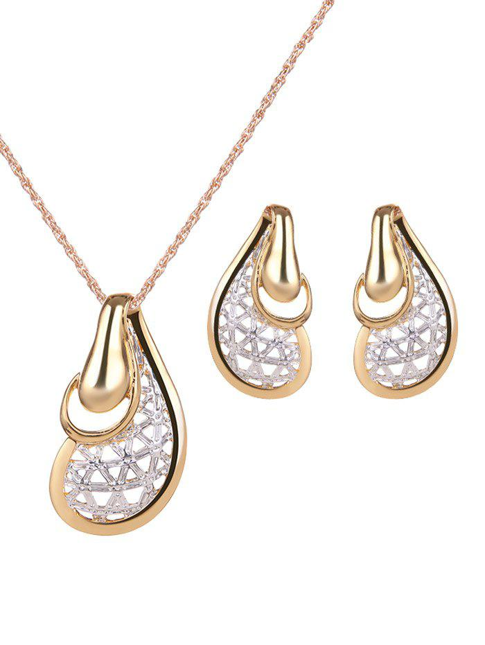 Chic Vintage Hollow Out Water Drop Jewelry Set