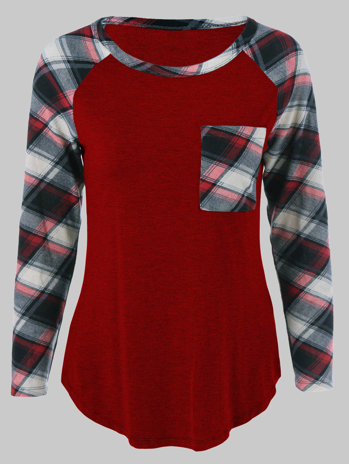 Plus Size One Pocket Plaid Long Sleeve T-ShirtWOMEN<br><br>Size: XL; Color: DEEP RED; Material: Cotton Blends,Spandex; Shirt Length: Long; Sleeve Length: Full; Collar: Scoop Neck; Style: Casual; Season: Fall,Spring,Summer; Pattern Type: Plaid; Weight: 0.2460kg; Package Contents: 1 x T-Shirt;