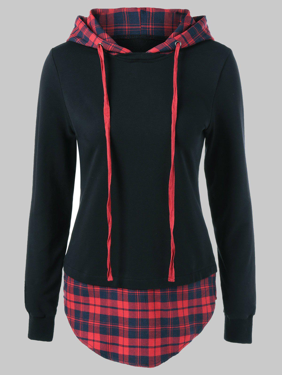 Drawstring Plaid Plus Size HoodieWOMEN<br><br>Size: XL; Color: RED WITH BLACK; Material: Spandex; Shirt Length: Long; Sleeve Length: Full; Style: Casual; Pattern Style: Plaid; Season: Fall,Spring; Weight: 0.4000kg; Package Contents: 1 x Hoodie;