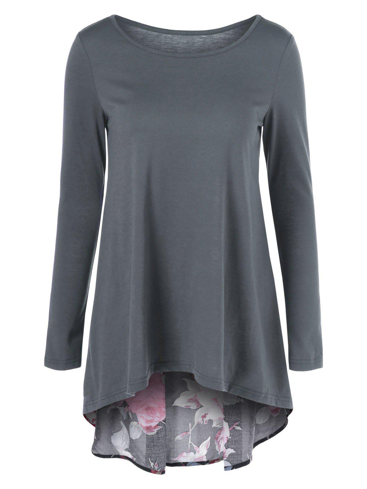 Fashion Floral Patchwork High Low T-Shirt