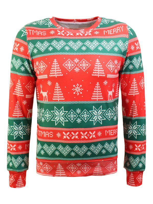 Crew Neck Christmas Tree and Snowflake Print Long Sleeve Flocking SweatshirtMEN<br><br>Size: XL; Color: RED AND GREEN; Material: Cotton,Polyester; Shirt Length: Regular; Sleeve Length: Full; Style: Fashion; Weight: 0.475kg; Package Contents: 1 x Sweatshirt;