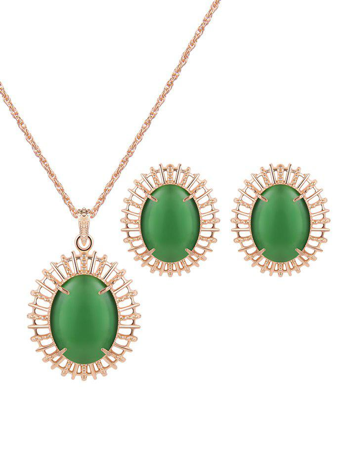 Trendy Vintage Oval Fake Opal Jewelry Set