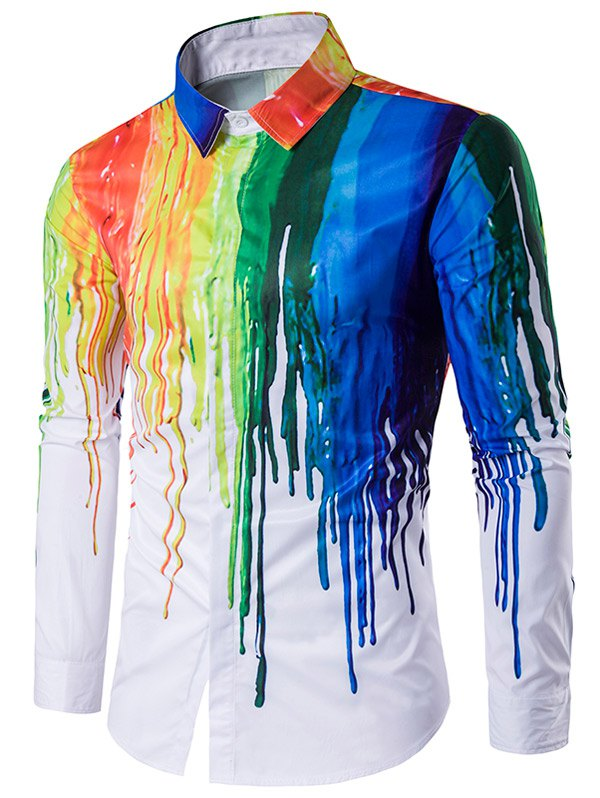 Colorful Splatter Paint Print Turndown Collar Long Sleeve ShirtMEN<br><br>Size: L; Color: WHITE; Shirts Type: Casual Shirts; Material: Cotton,Polyester; Sleeve Length: Full; Collar: Turn-down Collar; Weight: 0.2320kg; Package Contents: 1 x Shirt;