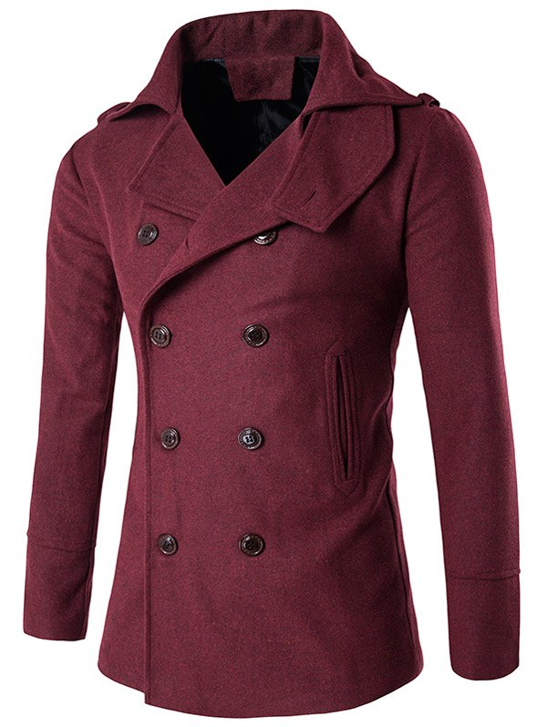 Store Stand Collar Double Breasted Epaulet Wool Coat