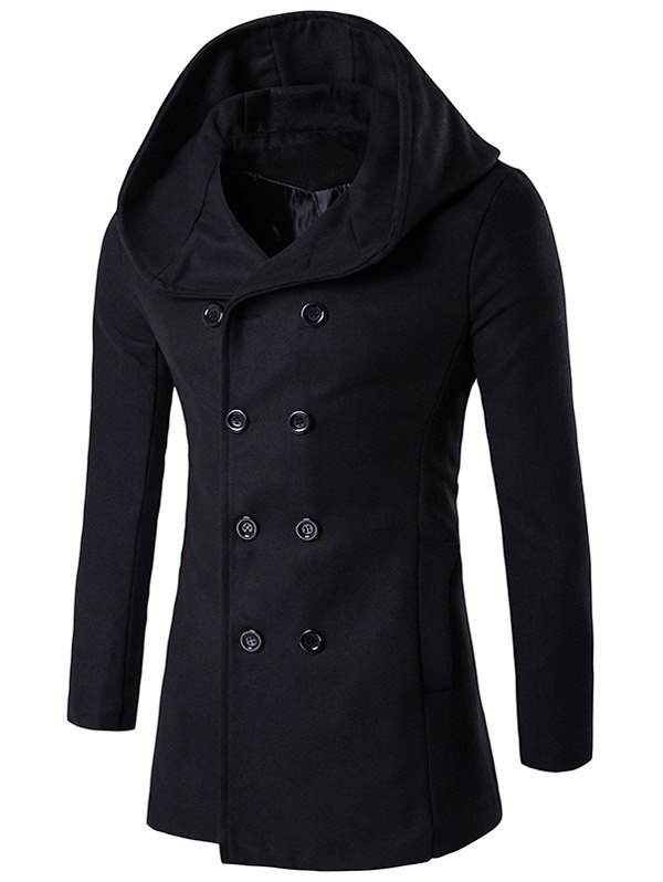 Hooded Double Breasted Back Slit Wool CoatMEN<br><br>Size: M; Color: BLACK; Clothes Type: Wool &amp; Blends; Style: Fashion; Material: Cotton,Wool; Collar: Hooded; Shirt Length: X-Long; Sleeve Length: Long Sleeves; Season: Winter; Weight: 0.850kg; Package Contents: 1 x Coat;
