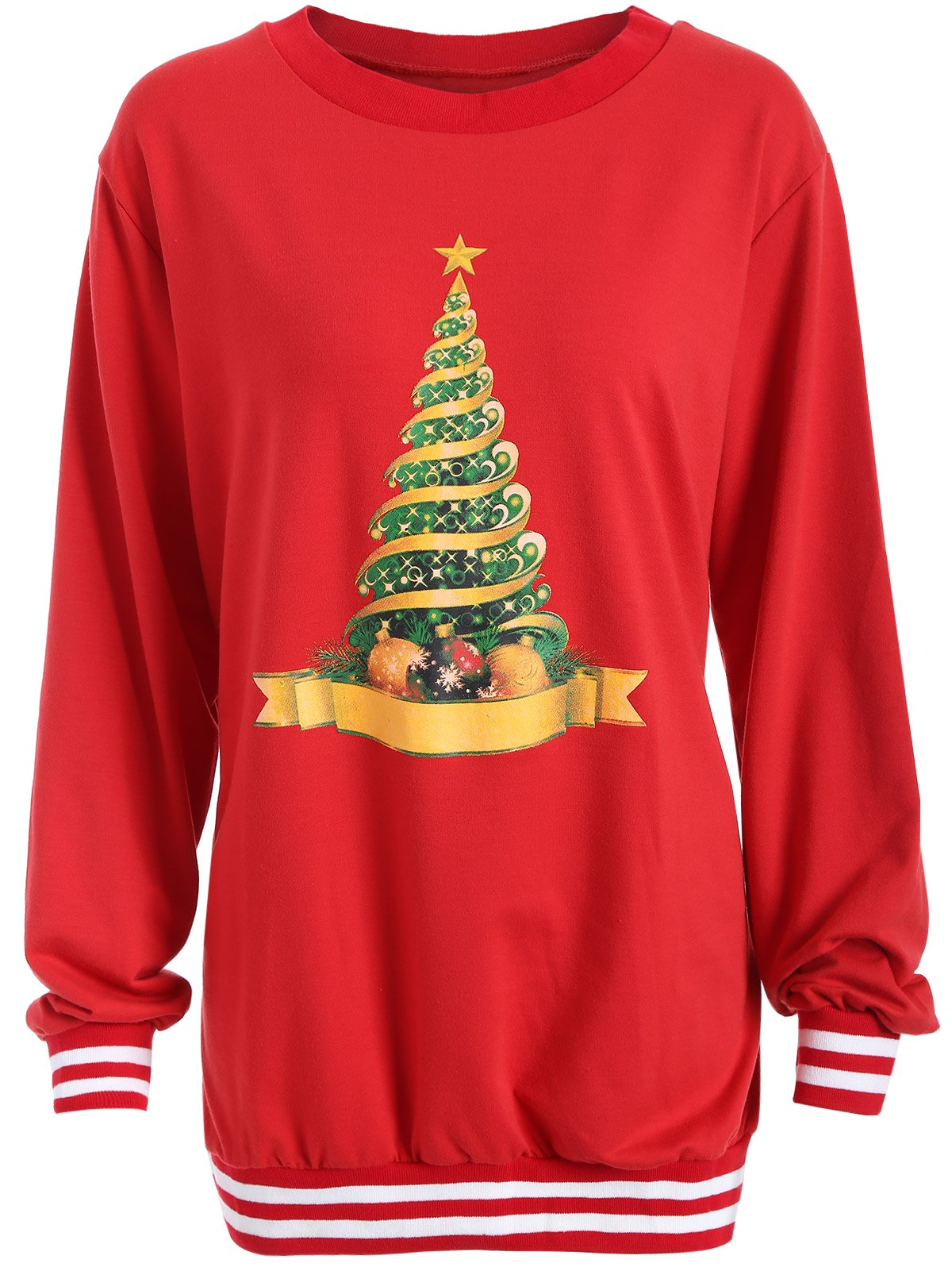 Christmas Tree Varsity Striped SweatshirtWOMEN<br><br>Size: 2XL; Color: RED; Material: Cotton,Polyester; Shirt Length: Long; Sleeve Length: Full; Style: Fashion; Pattern Style: Print; Season: Fall,Spring,Winter; Weight: 0.362kg; Package Contents: 1 x Sweatshirt;