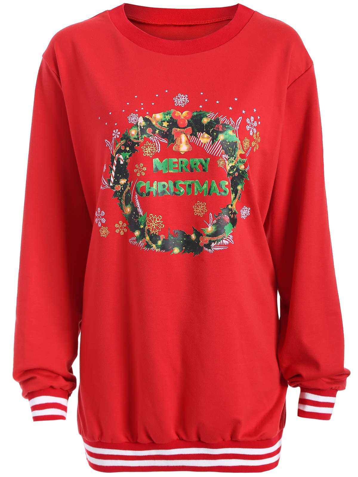 Christmas Graphic Varsity Striped SweatshirtWOMEN<br><br>Size: 3XL; Color: RED; Material: Cotton,Polyester; Shirt Length: Long; Sleeve Length: Full; Style: Fashion; Pattern Style: Print; Season: Fall,Spring,Winter; Weight: 0.382kg; Package Contents: 1 x Sweatshirt;