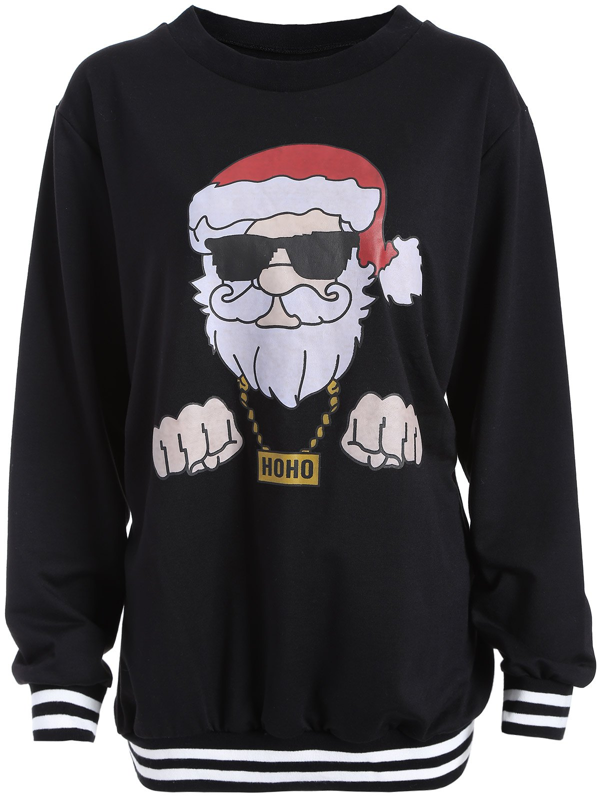 Christmas Santa Print Varsity Striped SweatshirtWOMEN<br><br>Size: 2XL; Color: BLACK; Material: Cotton,Polyester; Shirt Length: Long; Sleeve Length: Full; Style: Fashion; Pattern Style: Print; Season: Fall,Spring,Winter; Weight: 0.345kg; Package Contents: 1 x Sweatshirt;