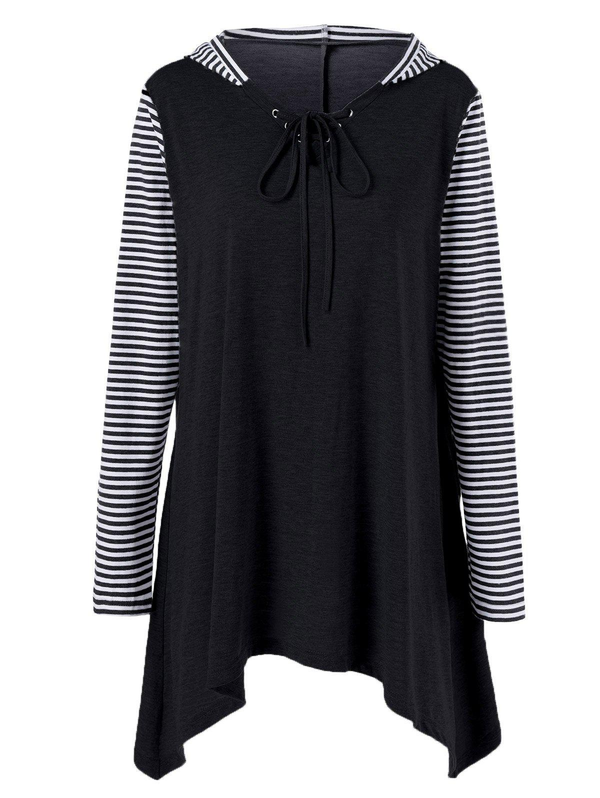 Plus Size Asymmetrical Striped Hooded T-ShirtWOMEN<br><br>Size: 2XL; Color: BLACK; Material: Polyester,Spandex; Shirt Length: Long; Sleeve Length: Full; Collar: Hooded; Style: Casual; Season: Fall,Spring; Pattern Type: Striped; Weight: 0.390kg; Package Contents: 1 x T-Shirt;
