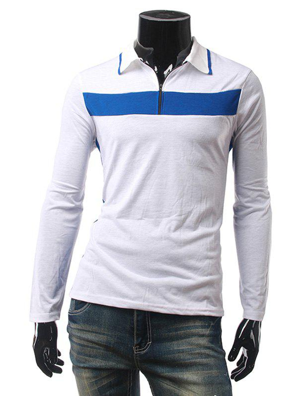 Contraste Panel Zip Up Polo T-Shirt