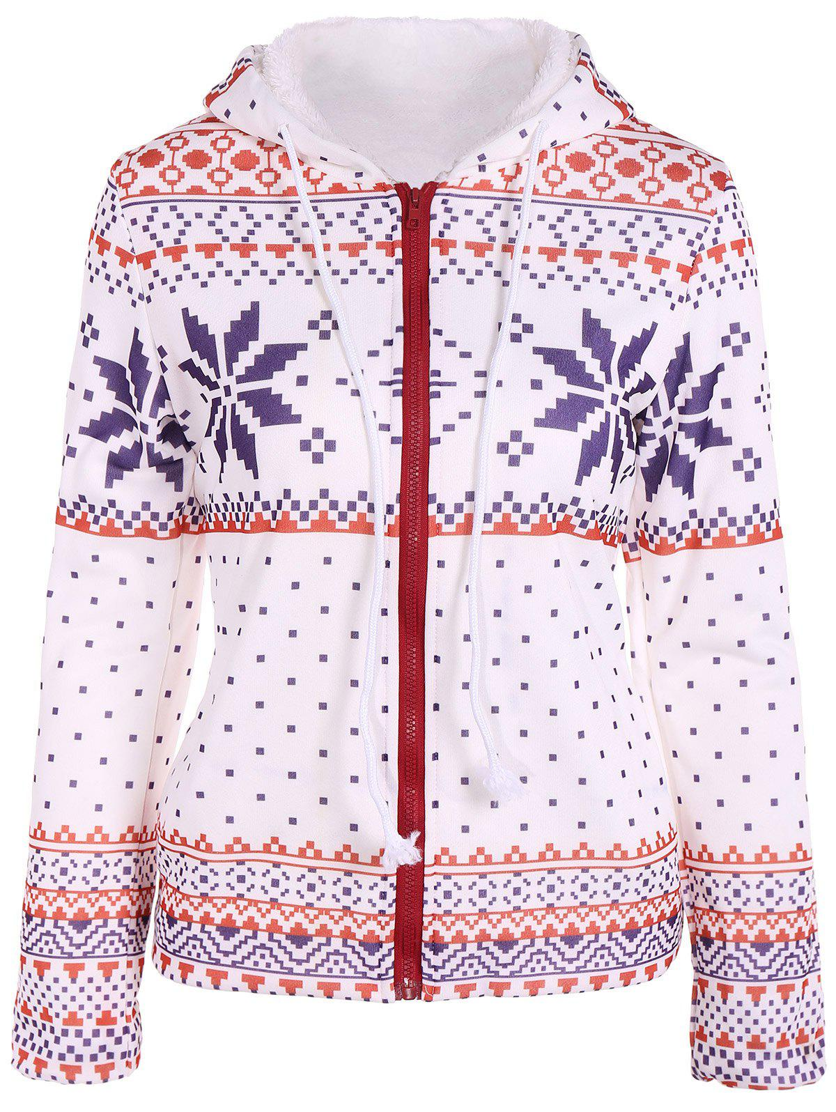 Outfit Zipper Snowflake Patterned Christmas Hoodie