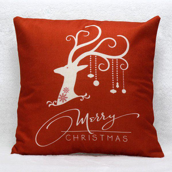 Home Decorative Reindeer Pattern Christmas Pillow CoverHOME<br><br>Color: RED; Material: Polyester / Cotton; Pattern: Printed; Style: Modern/Contemporary; Shape: Square; Size(CM): 45*45; Weight: 0.200kg; Package Contents: 1 x Pillow Case;