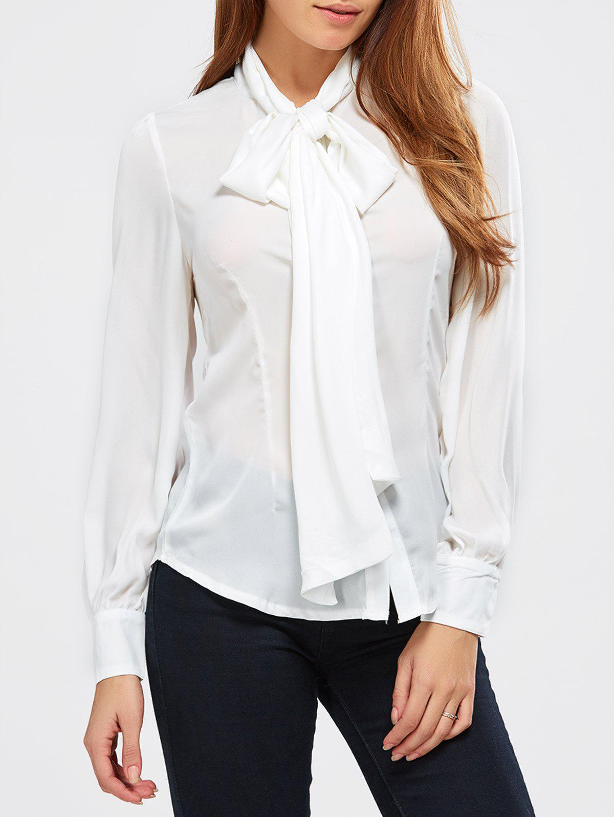 White xl pussy bow tie neck blouse for Best dress shirts online