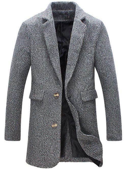 Hot Turndown Collar Cotton Blends Single Breasted Woolen Coat