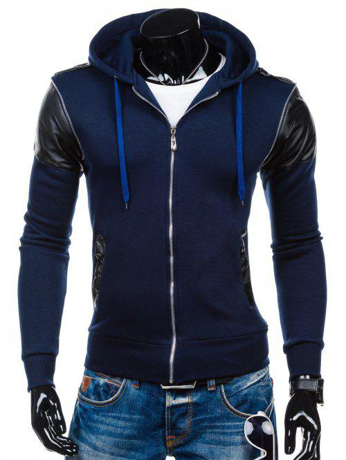 Shops Faux Leather Insert Zip Up Hoodie
