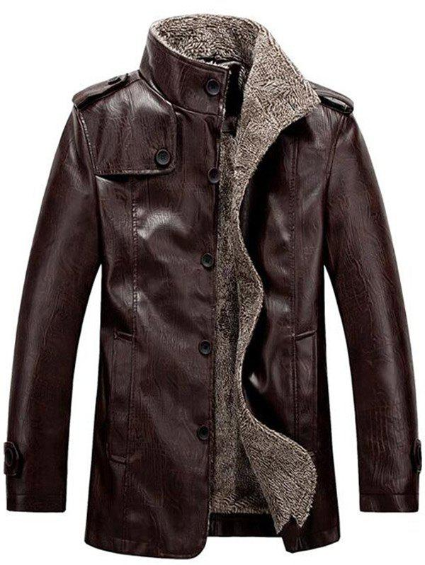 Stand Collar Flocking Single Breasted PU-Leather JacketMEN<br><br>Size: L; Color: COFFEE; Clothes Type: Leather &amp; Suede; Style: Fashion; Material: Cotton,Faux Leather; Collar: Turn-down Collar; Shirt Length: Regular; Sleeve Length: Long Sleeves; Season: Winter; Weight: 0.9860kg; Package Contents: 1 x Jacket;