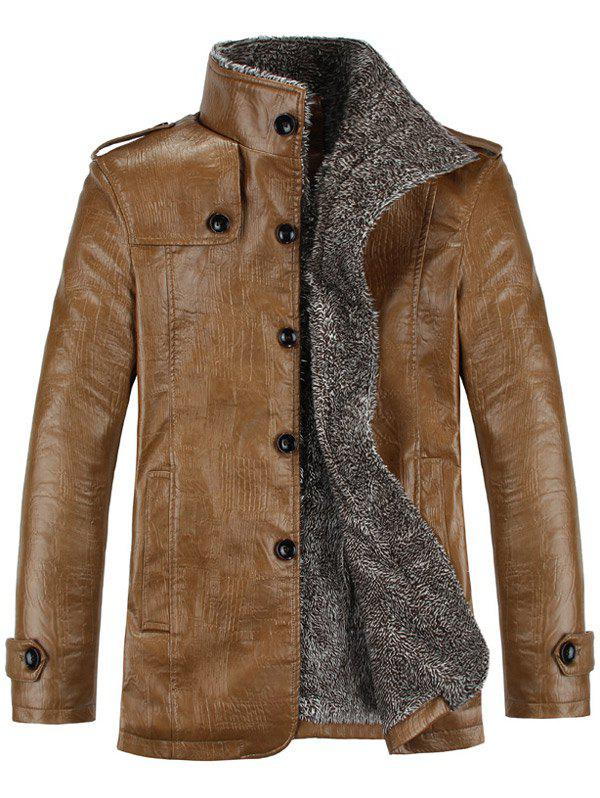 Stand Collar Flocking Single Breasted PU-Leather JacketMEN<br><br>Size: L; Color: KHAKI; Clothes Type: Leather &amp; Suede; Style: Fashion; Material: Cotton,Faux Leather; Collar: Turn-down Collar; Shirt Length: Regular; Sleeve Length: Long Sleeves; Season: Winter; Weight: 0.9860kg; Package Contents: 1 x Jacket;
