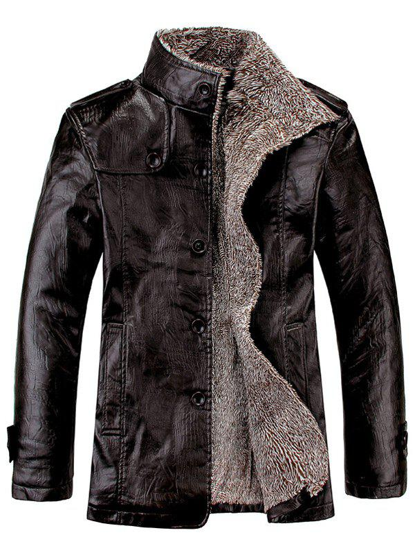 Stand Collar Flocking Single Breasted PU-Leather JacketMEN<br><br>Size: L; Color: BLACK; Clothes Type: Leather &amp; Suede; Style: Fashion; Material: Cotton,Faux Leather; Collar: Turn-down Collar; Shirt Length: Regular; Sleeve Length: Long Sleeves; Season: Winter; Weight: 0.9860kg; Package Contents: 1 x Jacket;
