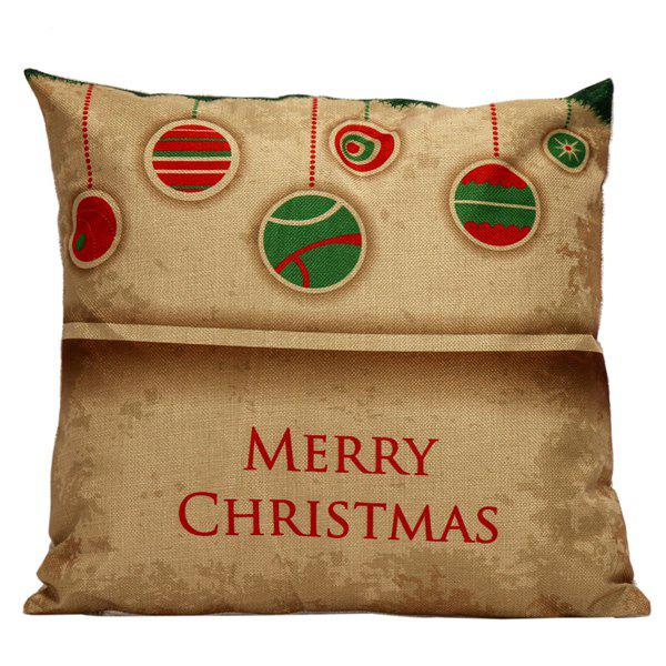 Christmas Hangers Cushion Home Office Pillow CoverHOME<br><br>Color: LIGHT BROWN; Material: Linen; Pattern: Printed; Style: Modern/Contemporary; Shape: Square; Size(CM): 45*45; Weight: 0.120kg; Package Contents: 1 x Pillow Case;