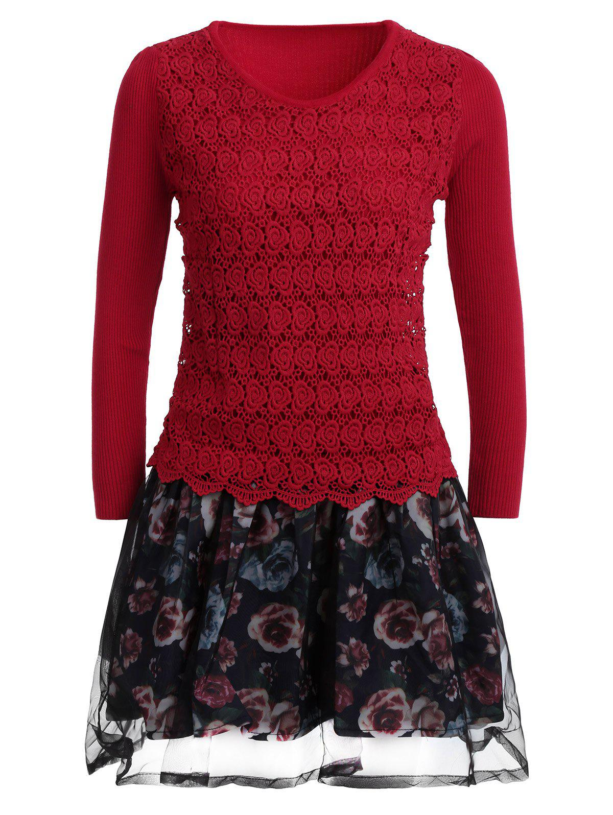 Chic Organza Spliced Floral Layered Sweater Skater Dress