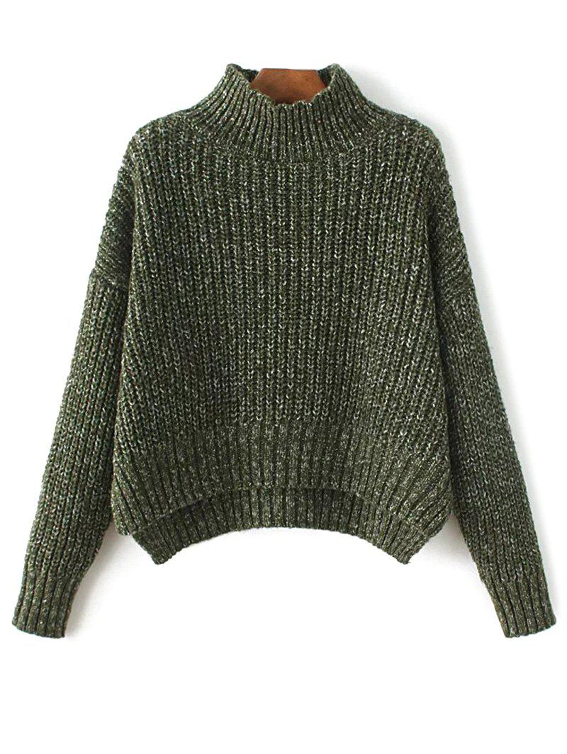Outfit Mock Neck High-Low Chunky Sweater