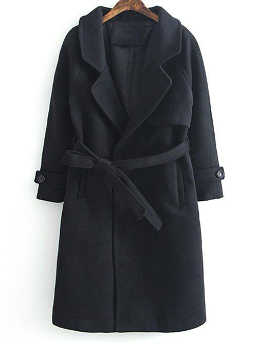 Fashion Lapel Collar Woolen Belted Long Wrap Coat