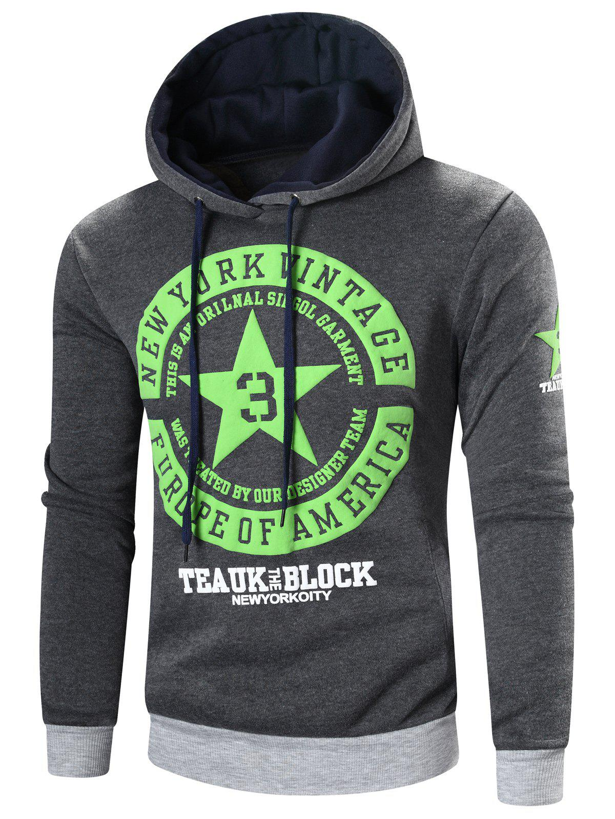 Best Star Printed Color Block Pullover Hoodie