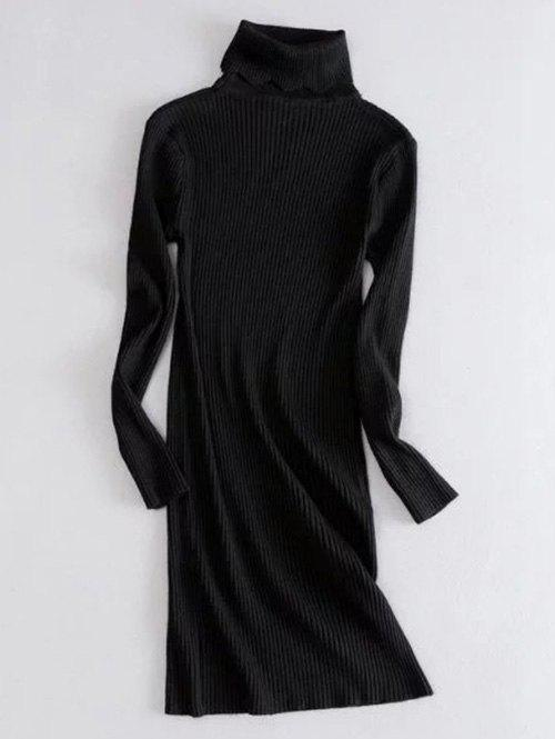 Turtle Neck Ribbed Sweater Dress 202631805
