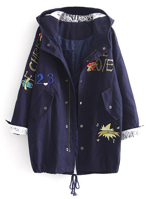 Fancy Hooded Letter Embroidered Sequins Coat