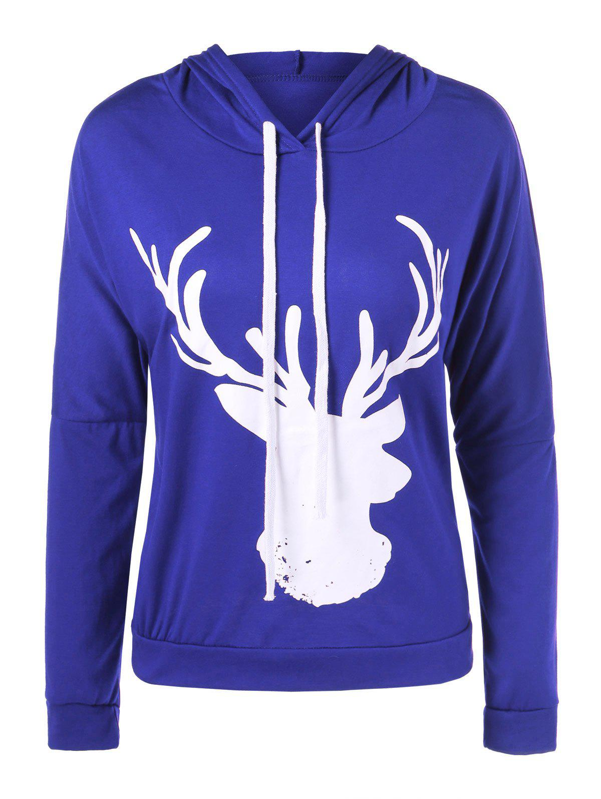 Hooded Christmas Fawn HoodieWOMEN<br><br>Size: XL; Color: BLUE; Material: Spandex; Shirt Length: Regular; Sleeve Length: Full; Style: Fashion; Pattern Style: Print; Season: Fall,Spring,Winter; Weight: 0.230kg; Package Contents: 1 x Hoodie;