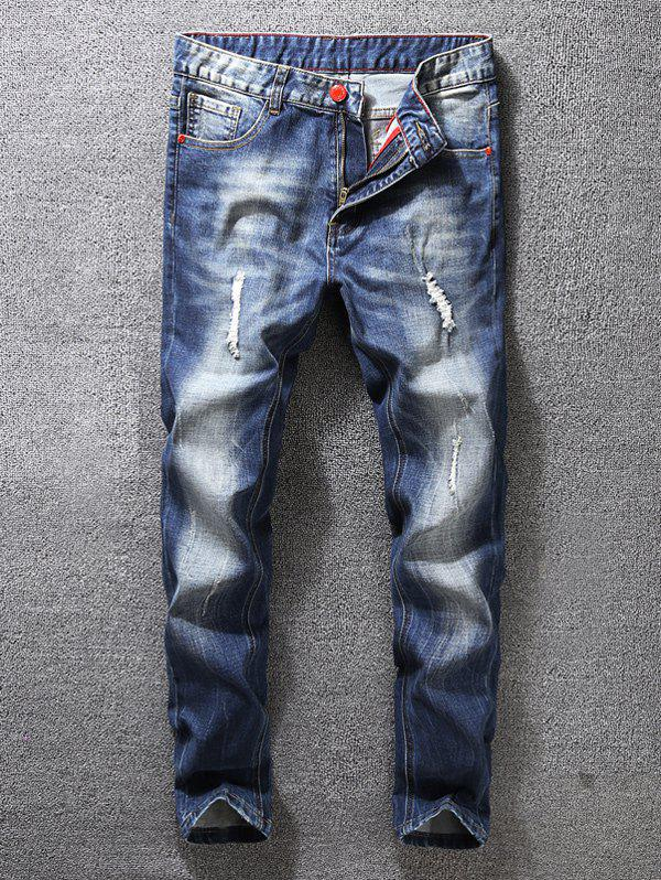 Unique Zip Fly Distressed Tapered Jeans