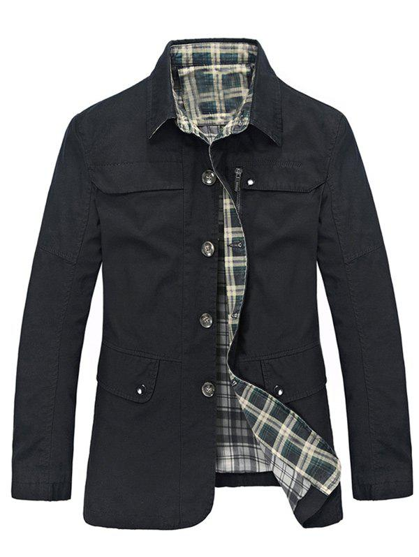 Best Plaid Lining Pocket Button Up Jacket