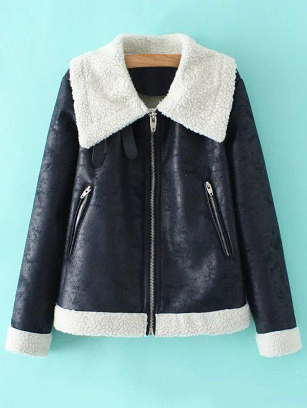 Store PU Leather Faux Shearling Coat