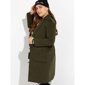 Plus Size Long Wool Coat with Pockets - BLACKISH GREEN 4XL