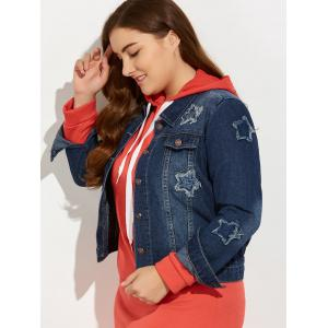 Plus Size Buttoned Star Graphic Jean Jacket - BLUE 5XL