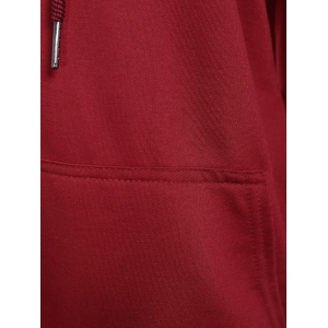 Letter Print Pullover Drawstring Hooded Tee - BURGUNDY XL