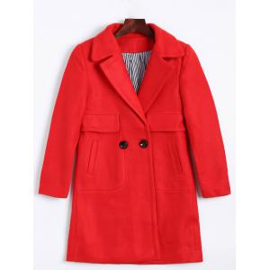 Lapel Two Buckle Plus Size Wool Coat - Red - L