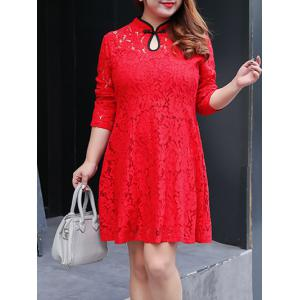Plus Size Long Sleeve Lace Cheongsam Dress