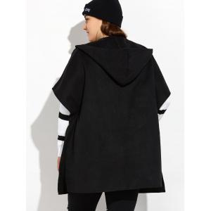 Hooded Open Front Wool Cape Coat - BLACK 5XL