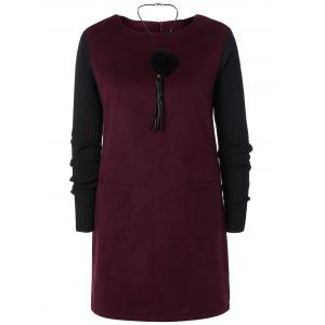 Two Tone Pocket Mini Dress - Purplish Red - 3xl