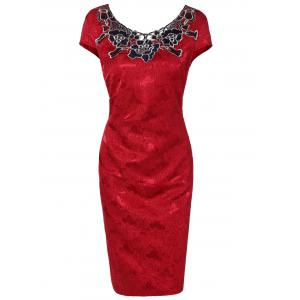 Flower Embroidery Lacework Insert Bodycon Dress