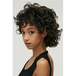 Short Synthetic Shaggy Curly Black Brown Mixed Wig -