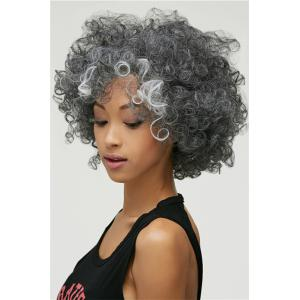 Gracefully Short Afro Curly Grey Silver Women's Synthetic Hair Wig - COLORMIX