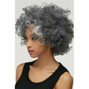 Gracefully Short Afro Curly Grey Silver Women's Synthetic Hair Wig -