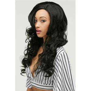 Gracefully Long Side Parting Black Loose Wave Women's Synthetic Hair Wig - BLACK